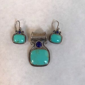Turquoise and Sterling Silver Pendant & Earrings